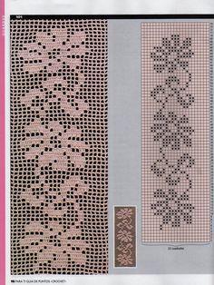 PARA TI filet - 12345 - Álbumes web de Picasa - lots of beautiful patterns and borders Filet Crochet, Crochet Diagram, Crochet Chart, Crochet Trim, Easy Crochet, Crochet Lace, Crochet Stitches, Crochet Motif Patterns, Crochet Borders