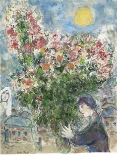 Marc Chagall - Le Prétendant, 1972. Gouache, watercolour, pen and ink, wash and pencil on paper, 47 x 36 cm (18 1/2 x 14 in.).