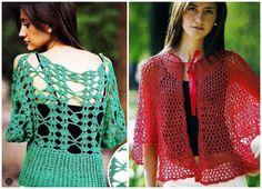 Jersey y Chaqueta caladas a ganchillo primaverales Crochet Crafts, Crochet Top, Fashion Styles, Women, Knitting Charts, Crochet Tops, Free Pattern, Wraps, Jackets
