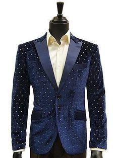 Angelino Mens Navy Gold Velvet Satin Lapel Formal Party Dress Fun Cool Blazer