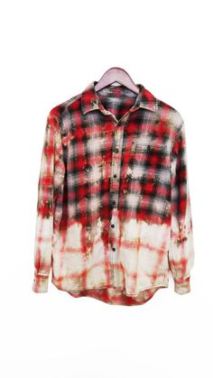 Grunge Flannel Shirt Bleached Refashioned Upcycled by ciaralg, $29.00 I COULD SO MAKE THIS FOR $5