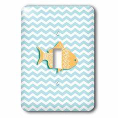 3dRose Blue and white chevron sea waves and cute orange fish - Nautical goldfish on zig zags Ocean zigzags, Single Toggle Switch
