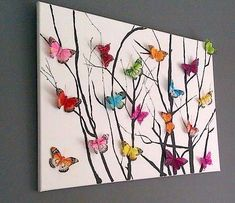 Origami art diy paper butterflies ideas for 2019 Diy And Crafts, Crafts For Kids, Arts And Crafts, Paper Crafts, Baby Crafts, Adult Crafts, Art Diy, Diy Wall Art, Art Papillon