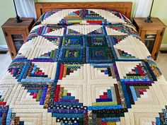 Log Cabin Quilt -- terrific carefully made Amish Quilts from Lancaster (hs6961)