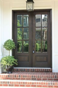 Double Entry Door Cool Farmhouse Front Door Entrance Decor And Design Ideas Front And Interior Door Design Ideas For The Prettiest House On The Block Double Exterior Door With Transom Wood Front Doors, The Doors, Back Doors, Windows And Doors, Front French Doors, Door With Window, Farmhouse Front Doors, Dark Front Door, Fromt Doors