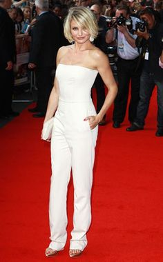 339a75c218559 Cameron Diaz She reigns in white! Satin Jumpsuit