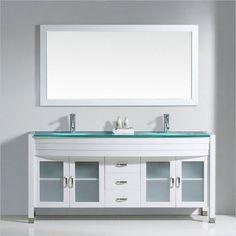 "Ava 71"" Glass Double Bathroom Vanity Cabinet Set in White - UM-3073-G-WH-001"