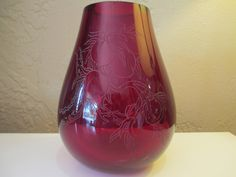 Japanese modern Intaglio etched THICK glass red vase Signed by DandAAmbientAntiques on Etsy