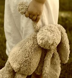 toddler and stuffed bunny