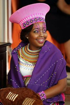 South African Princess in beautiful beads Zulu Traditional Attire, Zulu Traditional Wedding, African Traditional Dresses, African Attire, African Wear, African Dress, African Fashion, African Style, African Accessories