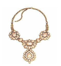 "Pearl Crystal Medallion Antiqued Gold Statement Necklace 18"" adjustable, Beauty #BoldElements #Statement"
