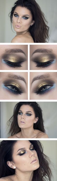 Linda Hallberg is a bad-ass makeup artist. I love her edgy looks. Her choice of colors and placement in the eye looks is artistic and chic. In this look, I'd use purple or green instead of blue as my eyes are green and would pop.