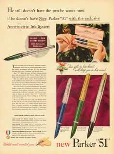 1950 vintage Ad, new Parker '51' Fountain Pens for Christmas -101013