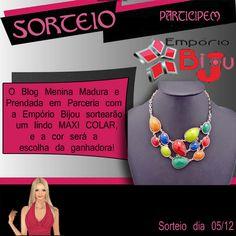 #O Blog Menina Madura e Prendada em Parceria com a Empório Bijou sortearão um lindo MAXI COLAR. Participe.