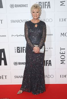 Dazzling: Julie Walters certainly looked the part in a glittery blue floor-length number, which she teamed with a silver clutch and heels Laura Carmichael, Mature Fashion, Women's Fashion, Julie Walters, Carey Mulligan, Blue Floor, 50 And Fabulous, Silver Clutch, Vestidos