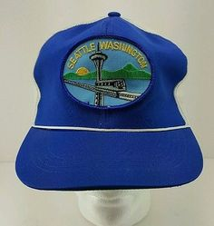 ad95cad5528 vtg Seattle Washington Trucker Snapback Blue White City Hat Space Needle EUC
