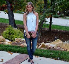 White Leather Halter Top-Skinny Boyfriend Jeans-Leopard Clutch-Jami Druzy Pendant-Schutz Peep Toe Spike Heels 2