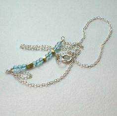 NATHALIE NECKLACE - sterling silver, vermeil, aquamarine dangly and delicate