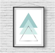 Mint Triangle Print Mint Geometric Wall Art Silver by PrintAvenue