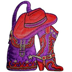 Cowgirl Applique with Red Hat