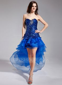 Prom Dresses - $154.99 - A-Line/Princess Sweetheart Asymmetrical Organza Sequined Prom Dress With Beading Cascading Ruffles (018018891) http://jjshouse.com/A-Line-Princess-Sweetheart-Asymmetrical-Organza-Sequined-Prom-Dress-With-Beading-Cascading-Ruffles-018018891-g18891