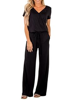 22dd612d4293 Dearlove Womens Casual V Neck Wide Legs Long Pant Jumpsuits Rompers with  Pockets Plus Size Suits