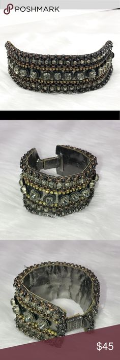 Authentic Original Deepa Gurnani Black Bracelet A beautiful and unique Bracelet by Deepa Gurnani   Show off your unique bohemian style with this beauty.   Slide clip closure  Shimmering crystals and beads throughout  Preloved but in fantastic condition   From a clean smoke and pet free home.   ⭐️ Posh Ambassador ⭐️ Deepa Gurnani Jewelry Bracelets