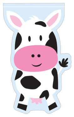 Farmhouse Fun Shaped Ziplock Cello Bags (12) .  Adorable barnyard cows make the party extra memorable!  Our farm animal themed loot bags feature a zipper type lock and plenty of space for party loot and lollies!   price is per 12 ziplock empty bags; 12.7cm X 22.8cm (cow design)