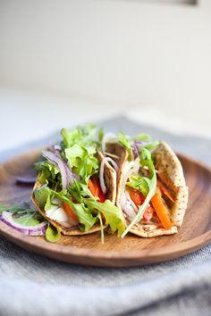 Egg white and turkey-sausage pita tacos - Lillie Eats and Tells Fried Egg Recipes, Pita Recipes, Lunch Recipes, Breakfast Recipes, Healthy Recipes, Sandwich Recipes, Healthy Food, Macro Friendly Recipes, Macro Recipes