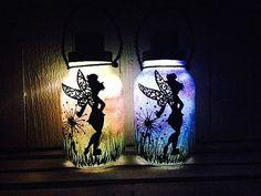 Tinker Bell Fairy Day OR Night, Mason Jar Light, Outdoor Solar Light, Hand