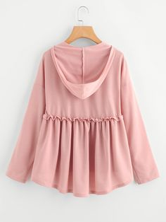 SheIn offers Frilled Dip Hem Smock Hoodie Tee & more to fit your fashionable needs. Casual Skirt Outfits, Casual Dresses, Girls Dresses, Cute Outfits, Teen Fashion Outfits, Girl Fashion, Fashion Dresses, Blouse Styles, Blouse Designs