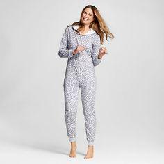 Pajama Drama® Women's Faux Sherpa Hood French Terry Union Suit Pajamas - Hearts…