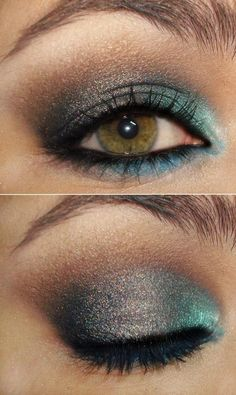 sparkling.. teal, brown and grey eye shadow. Perfect