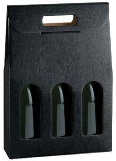 Chique 3 bottle black textured carry wine box