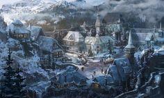 Personal Work, PJ Raines on ArtStation at… Fantasy Village, Fantasy Town, High Fantasy, Fantasy Rpg, Medieval Fantasy, Fantasy World, Fantasy Art Landscapes, Fantasy Landscape, Landscape Art
