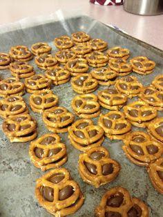 Twist on pretzel kisses - pretzel sandwiches (Hershey kiss and pretzel)