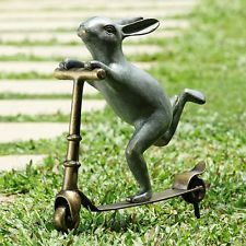 Scooter Bunny Rabbit Garden Sculpture Whimsical Metal Garden Statue,23''H.Easter