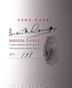 Hand Made, Wine Label, fingerprint and signature