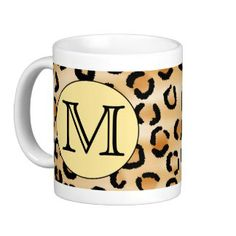 Personalized Monogram Leopard Print Pattern. Coffee Mugs