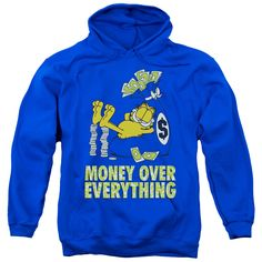 Garfield/Money Is Everything Adult Pull-Over Hoodie in Royal