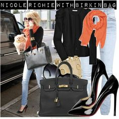 Nicole Richie with Birkin bag by Hèrmes by m-letizia on Polyvore featuring polyvore, fashion, style, Maje, Nudie Jeans Co., GUESS by Marciano, Love Quotes Scarves, Ray-Ban, Hermès and Christian Louboutin