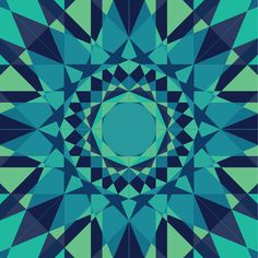 Teal, Navy, & Blue Radial Pattern Art Print