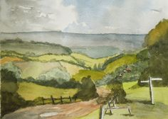 The Weald of Kent An Original Watercolor Painting        view towards the North Downs