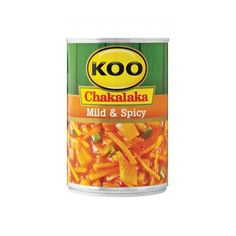 The firm favorite – KOO Mild & Spicy Chakalaka is a mix of carrots, onions, cabbage, chilies, and green peppers. It's delicious with pap and wors and is perfect for a braai. Serve as a salad to accompany any meal or for a snack on the go, just enjoy on bread. Added to pasta with cubes of cheese and chopped spring onion, KOO Mild and Spicy Chakalaka makes a perfect lunchtime salad. Made in South Africa. Chakalaka Recipe, African Hut, South African Recipes, Specialty Foods, Mixed Vegetables, Stuffed Green Peppers, Carrots, Cabbage, Spicy