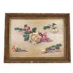 A Century French study of roses, oil on canvas in its original gilt wood and gesso frame. Floral Paintings, Vintage Art, 19th Century, Oil On Canvas, Roses, French, Artist, Character, Plastering