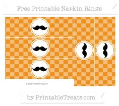 Free Carrot Orange Checker Pattern Mustache Napkin Rings