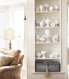 White Shelves, Glass Shelves, Book Shelves, Hanging Shelves, Wall Shelves, Shelving, Milk Glass Candy Dish, Deco Originale, Living Room Shelves