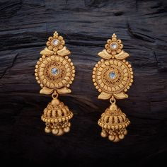 Vintage Antique Hanging Earrings studded with Champ synthetic stones, with gold Polish. Gold Jhumka Earrings, Gold Bridal Earrings, Antique Earrings, Jumka Earrings, Earings Gold, Jewellery Earrings, Stone Earrings, Gold Necklace, Gold Earrings For Women