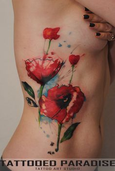 poppies by dopeindulgence on deviantART (would put on my wrist)