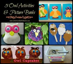 Owl Crafts, Activities & Picture Books (from Sun Hats & Wellie Boots) List Of Activities, Outdoor Activities For Kids, Animal Activities, Preschool Activities, Creative Kids, Creative Crafts, Owl Crafts, Crafts For Kids, Owl Cupcakes